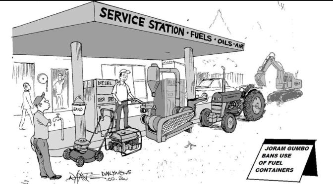 You might have to carry generator and push lawnmower to gas station in Zimbabwe